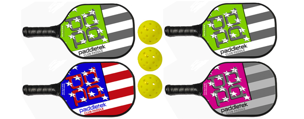 Paddletek Bundle Set - (4) Paddles (3) Balls