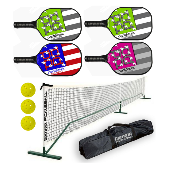 Paddletek Bundle Set - (4) Paddles (3) Balls (1) Gamma Net