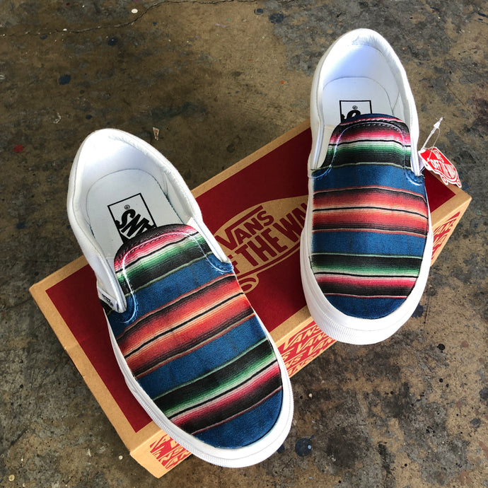 Mexican Blanket Colorful Slip On Vans