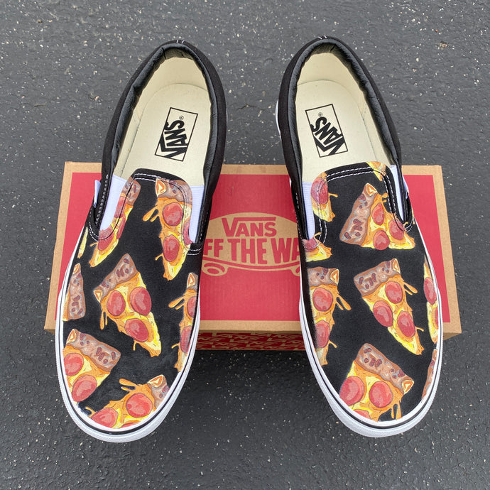 Custom Pizza Shoes - Pizza My Heart Slip-On Vans