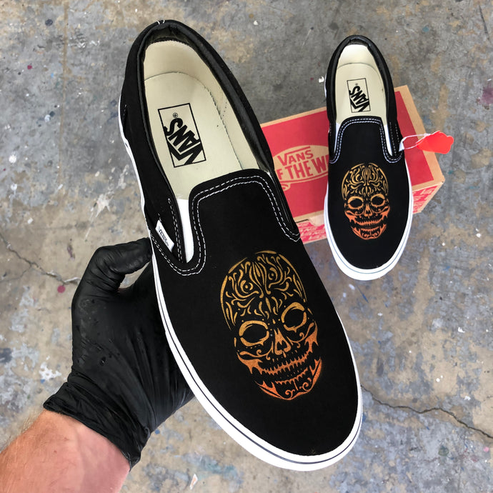 Custom Marigold Sugar Skull Slip-On Vans