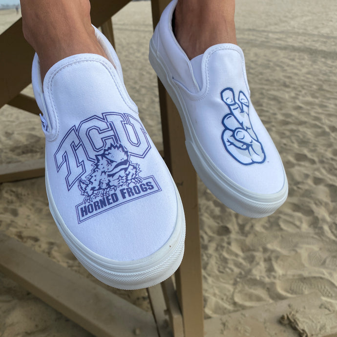 Texas Christian University Vans - Custom Slip On Vans