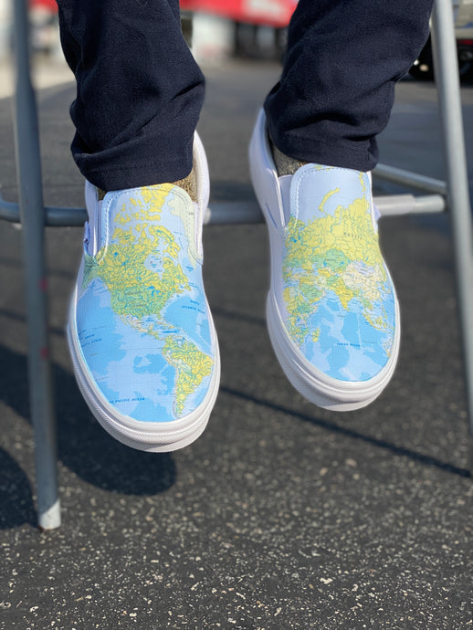 Best Gift for Geography Fanatics and World Travelers! - World Map Slip On Vans