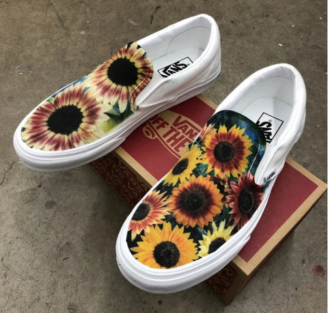 Sunflower White Slip On Vans
