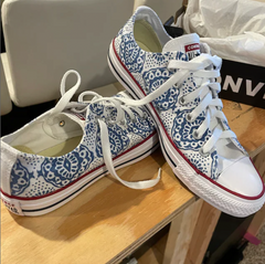 Blue and White Low Top Converse