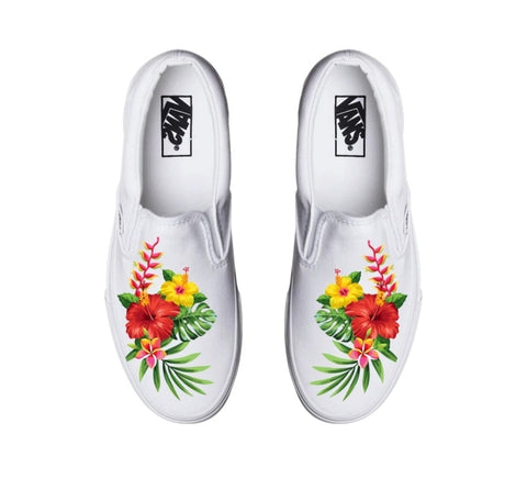 Hawaiian Flower White Slip On Vans