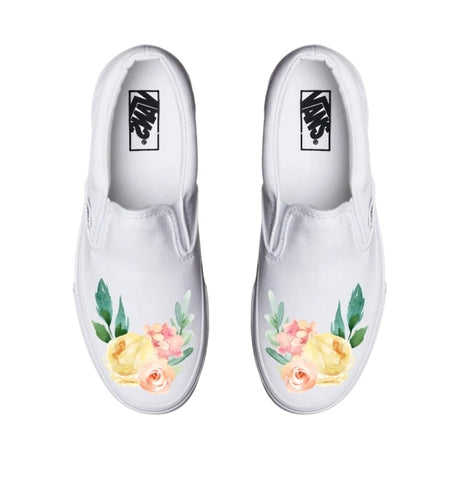 Watercolor Flower White Slip On Vans