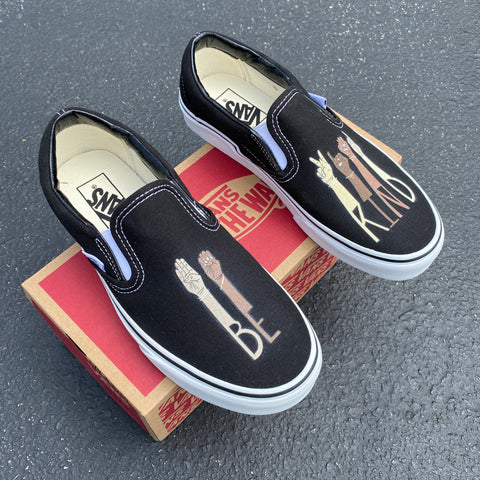 """Be Kind"" Slip on Vans"
