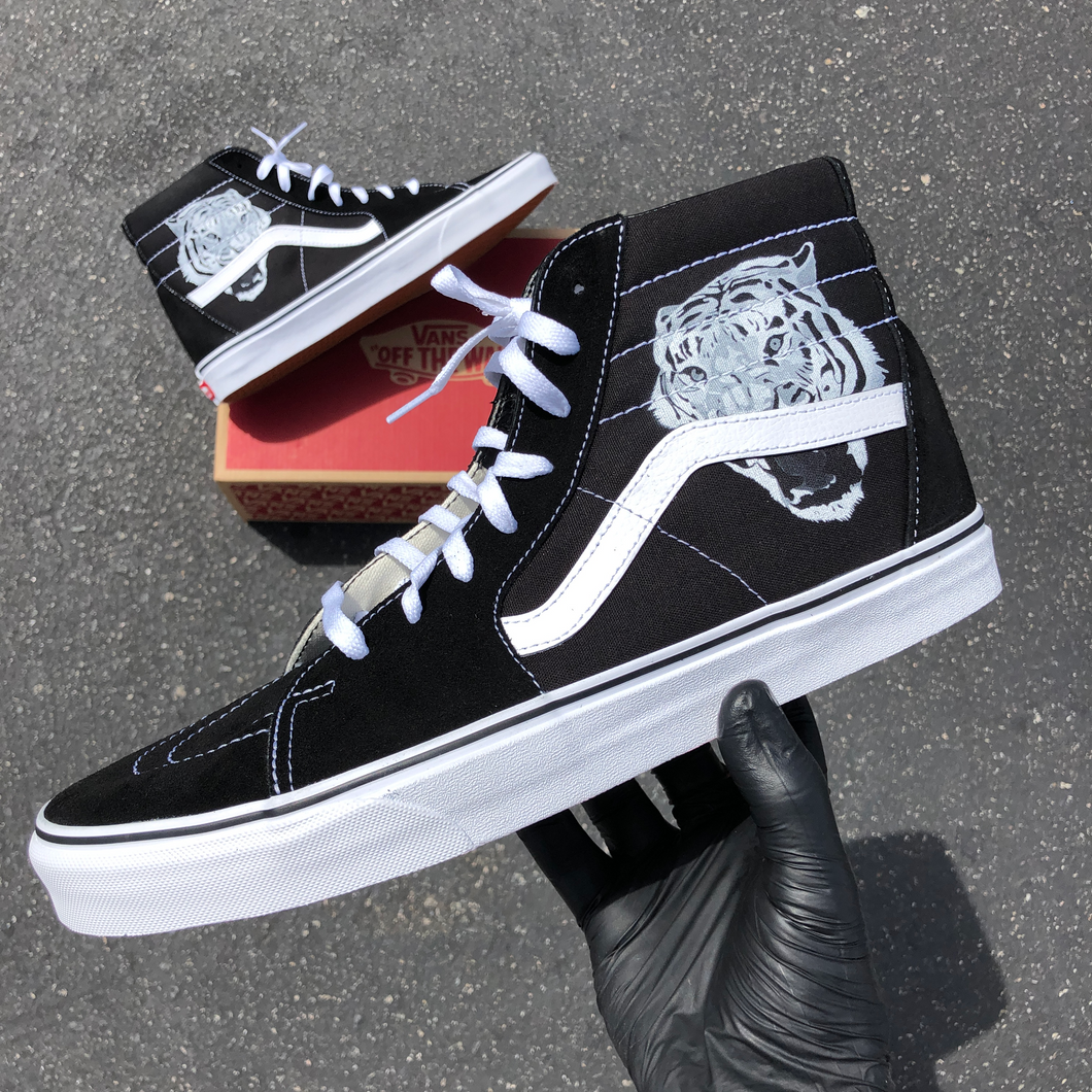 Custom Vans Sk8 Hi Tiger Head