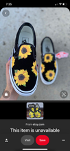 Load image into Gallery viewer, US Women's size 7.5 Navy Slip On Vans - Sunflower Theme - Custom Order