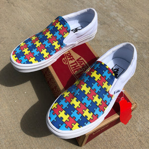 autism awareness vans slip on