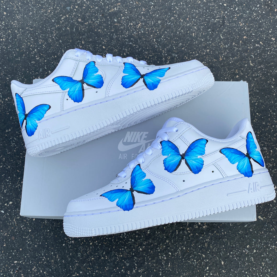 Custom Nike Air Force 1 Blue ButterFLY