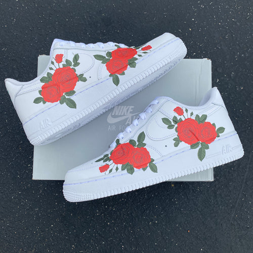 Custom Nike Air Force 1 Red Rose