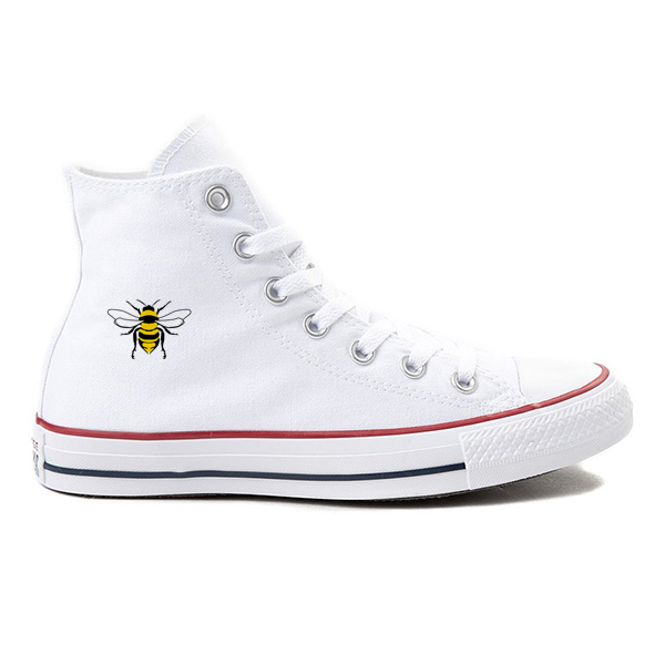 Bee Kind! White High-Top Converse
