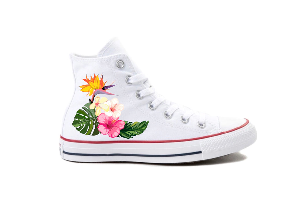 Tropical White Custom Printed High-Top Converse