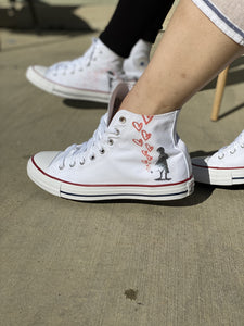 Grow Love Valentine's Day White High Top Converse