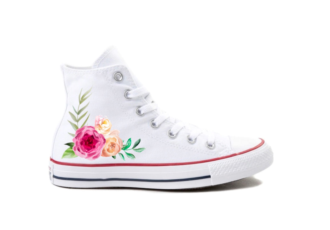 Pastel Floral White Custom Printed High-top Converse