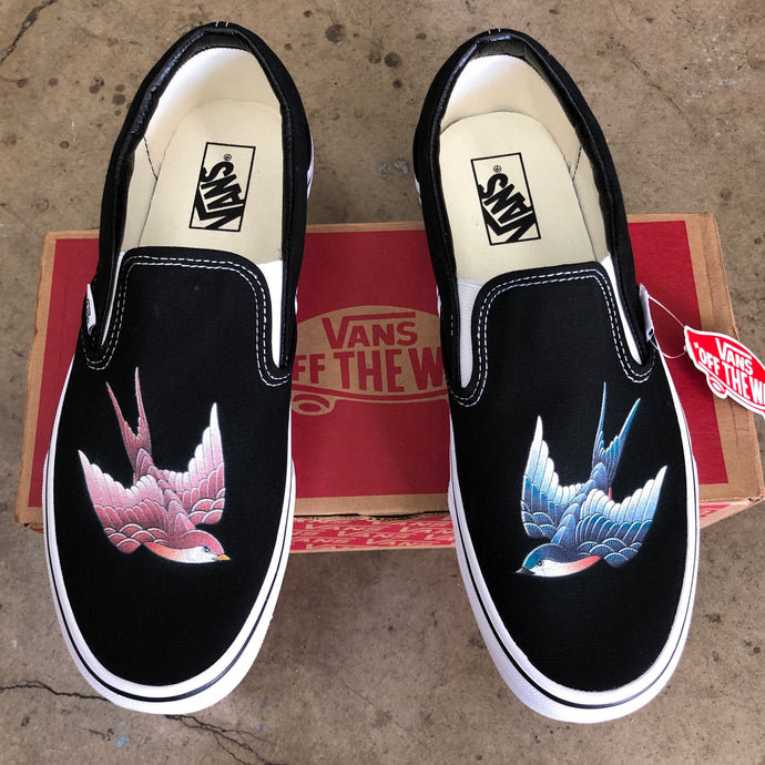 Vans Slip-On Custom Blue & Pink Swallows