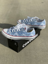 Load image into Gallery viewer, Blue Lace Pattern White Low Top Converse