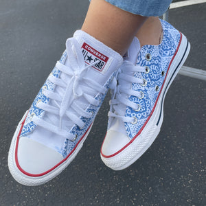 Blue Lace Pattern White Low Top Converse