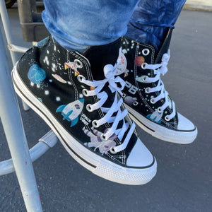 NASA Chucks Custom Black High Top Converse