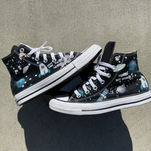 Load image into Gallery viewer, NASA Chucks Custom Black High Top Converse