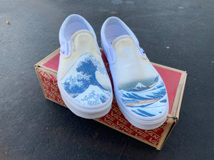 The Great Wave off Kanagawa Custom Printed White Slip On Vans