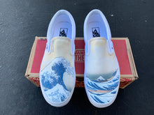 Load image into Gallery viewer, The Great Wave off Kanagawa Custom Printed White Slip On Vans