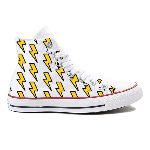 Lightning Bolt White High-Top Converse