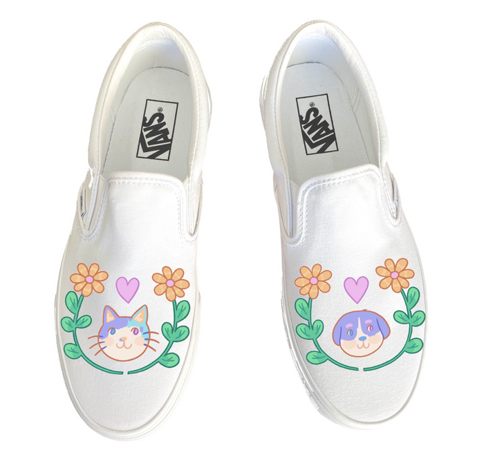 Animal Love Doodles White Slip On Vans