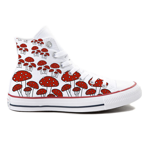 MushroomVille White High-Top Converse