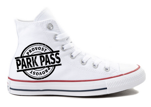 White High Top Converse Provost Park Pass Black Logo