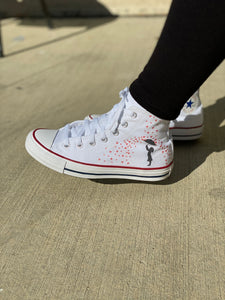 Showered in Love Valentine's Day White High Top Converse