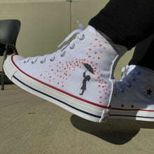 Load image into Gallery viewer, Showered in Love Valentine's Day White High Top Converse