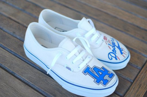 Vans Authentic White Dodgers Theme- Men's Size 9.5- Custom Printed Shoes