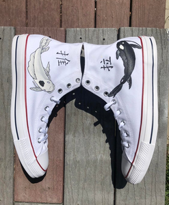 US Men's Size 9.5 White High Top Converse- Japanese Yin & Yang Koi Fish- BLVD Custom