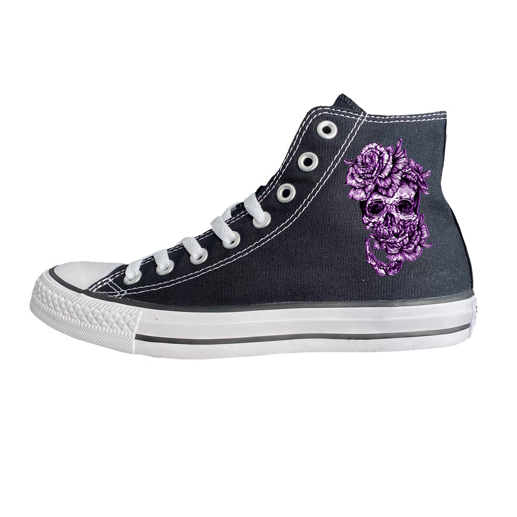 Purple Flower Skull High-Top Converse
