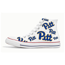 Load image into Gallery viewer, US Men's size 11.5 White High Top Chucks - Pitt & UNLV theme - Custom Order