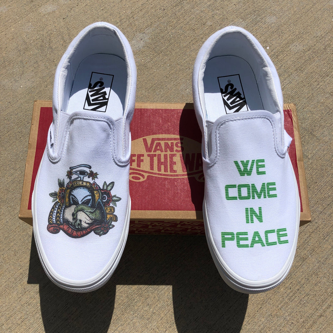 We Come in Peace White Slip-On Vans