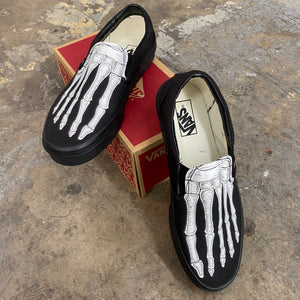 Custom Skeleton Feet X-Ray Vans ALL BLACK Slip On Shoes