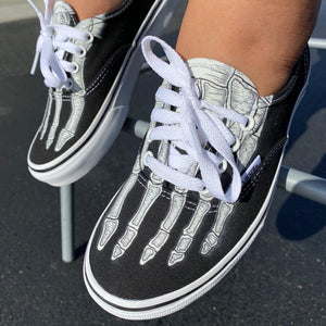 Custom Vans Authentic Skeleton Boney Feet