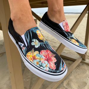 Tropical Hawaiian Black Slip On Vans