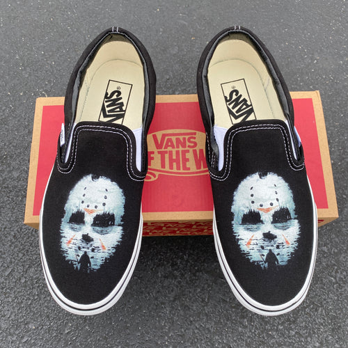 Friday the 13th Jason Custom Vans Slip On Sneakers