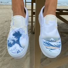 Load image into Gallery viewer, The Great Wave Off Kanagawa Custom White Slip On Vans