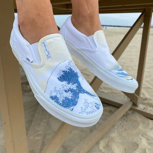 The Great Wave Off Kanagawa Custom White Slip On Vans