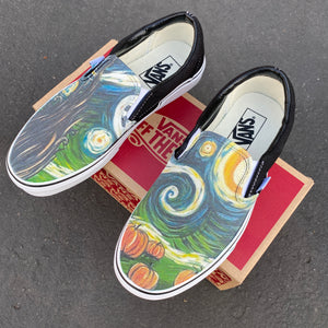 Spooky Starry Night Vans - Custom Slip On Vans Shoes