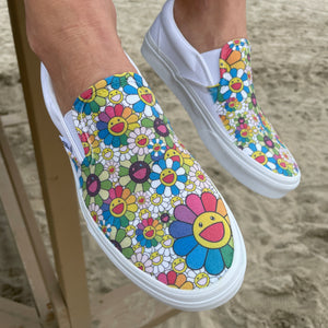 Takashi Murakami Rainbow Flower Sneakers - Custom Slip On Vans