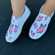 Load image into Gallery viewer, Custom Printed Pink Butterfly Vans