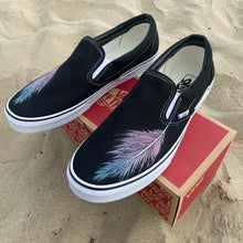 Load image into Gallery viewer, Feather Black Slip On Vans Shoes