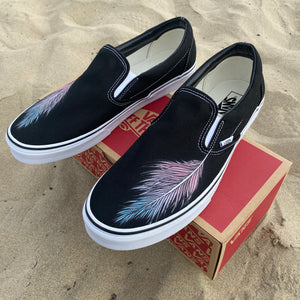 Feather Black Slip On Vans Shoes